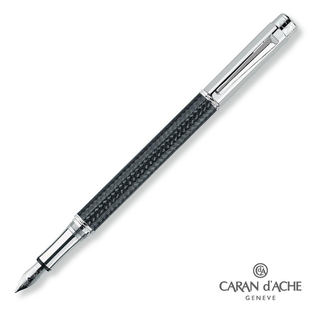CARAN d'ACHE 卡達 - VARIUS 碳纖維 黑桿銀夾 鋼筆