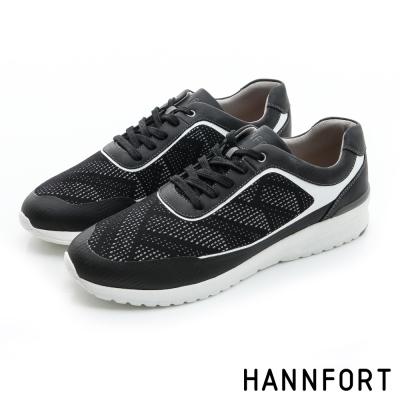 HANNFORT RS8格紋網布氣墊休閒鞋-男-曜石黑