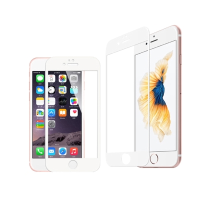 蘋果適用iPhone 7 Plus碳纖維全屏鋼化玻璃保護膜(白)