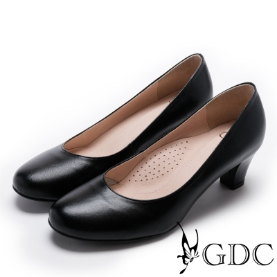 GDC-氣質粉領OL小羊皮圓楦低跟上班女鞋-黑色