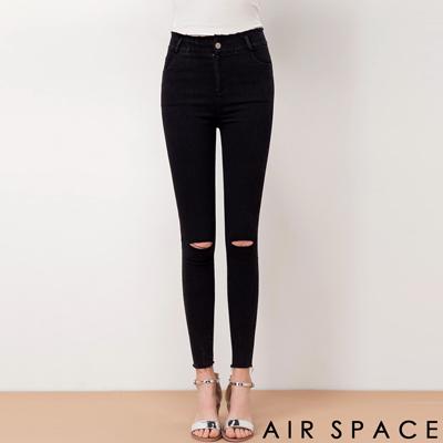 AIR-SPACE-超彈性顯瘦膝刷破牛仔褲-黑
