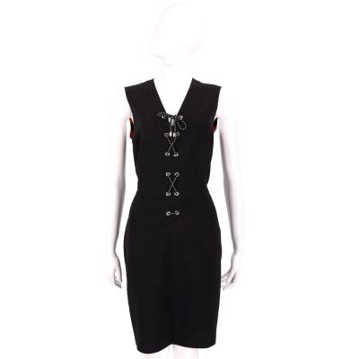 PINKO 黑色穿繩綁帶設計V領無袖洋裝