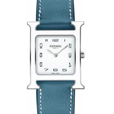 HERMES H-OUR經典H中型白框款時尚腕錶天空藍色錶帶26x26mm