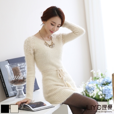 LIYO理優洋裝提花綁帶針織洋裝-杏-黑