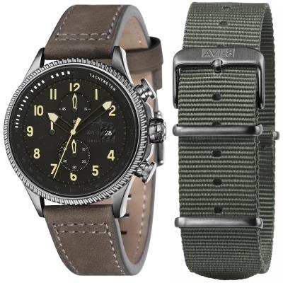 AVI-8 飛行錶 Hawker Hunter 帥氣手錶-黑x咖啡/45mm
