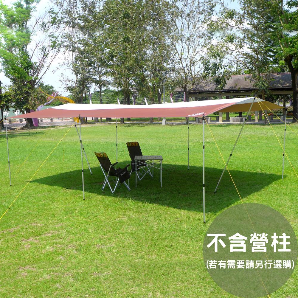 LIFECODE 600x440cm兩用塗銀布/抗UV天幕帳/地席布(咖啡色)