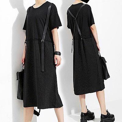 假兩件吊帶俏皮寬版連身裙-(共二色)Andstyle