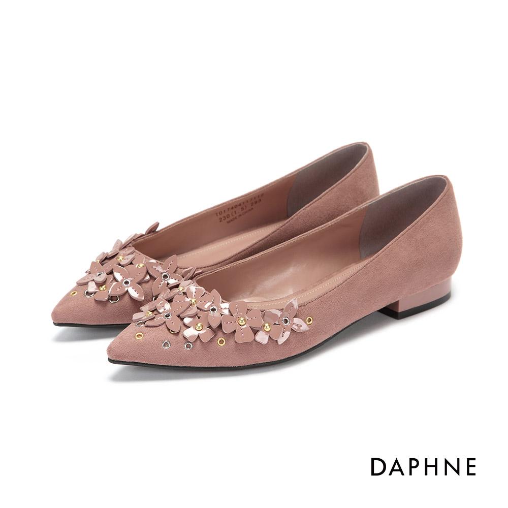 達芙妮DAPHNE 平底鞋-立體花朵鉚釘絨布尖頭平底鞋-粉紅