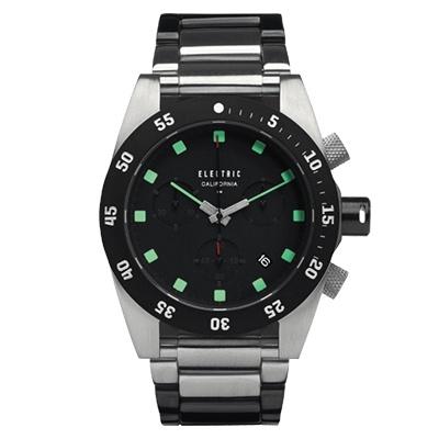 ELECTRIC DW 01 系列-經典潛水三眼計時腕錶-黑x綠x銀黑雙色鋼帶/ 44 . 5 mm
