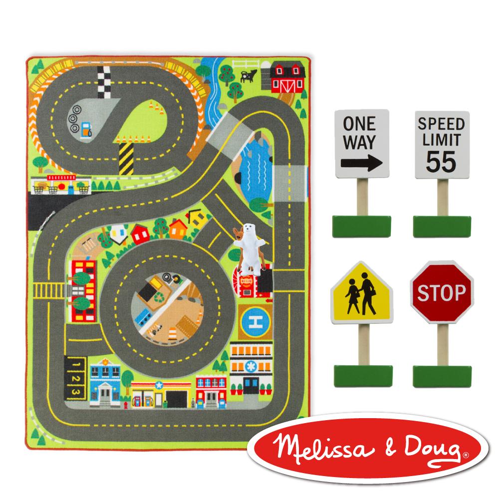 美國瑪莉莎Melissa Doug交通遊戲巨型城鎮雙向車道地墊組