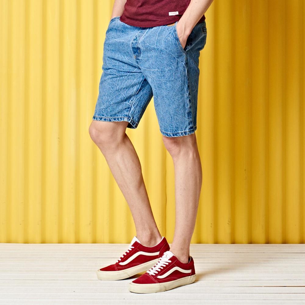 短褲 水洗抽繩牛仔褲(2色)-CACO