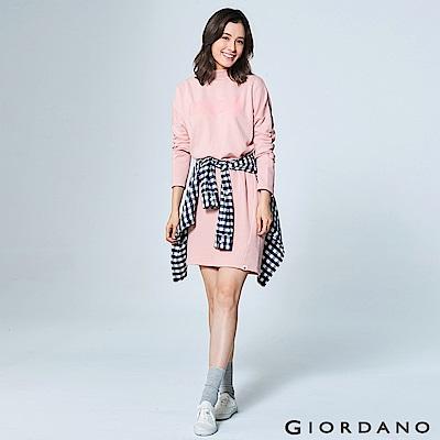 GIORDANO 女裝俏皮印花長袖長版連身洋裝 - 12 粉紅
