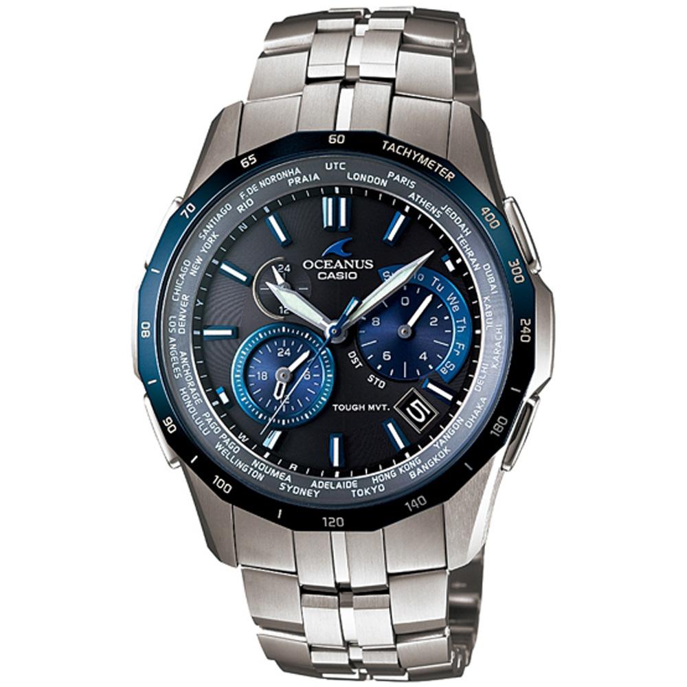 OCEANUS 蔚藍深海洋王者電波計時腕錶-黑/藍框/47.2mm