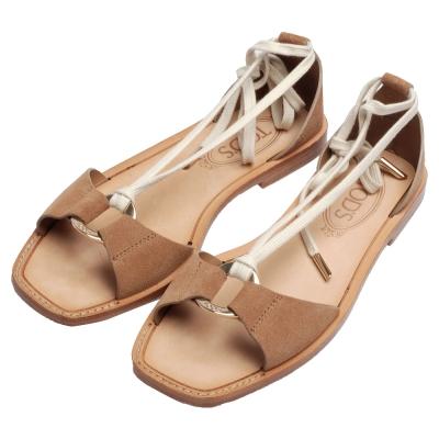 TOD'S 經典CUOIO麂皮金屬圓牌造型繞踝綁帶平底涼鞋(卡其咖)