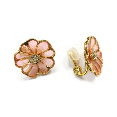 JewCas Air Earing系列粉紅花朵空氣耳夾_JC2263