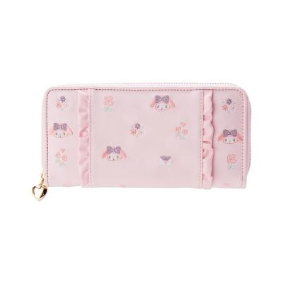 Sanrio-美樂蒂趣味刺繡PU皮革拉鍊長皮夾-花邊粉