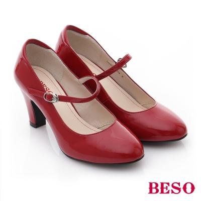 BESO-純真年代-鏡面皮鞋瑪麗珍跟鞋-紅色