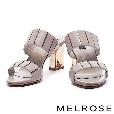 拖鞋 MELROSE 摩登個性金屬跟設計羊皮高跟拖鞋-灰