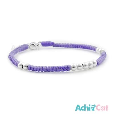 AchiCat 蠶絲蠟繩手鍊 925純銀 好運久久(紫色)