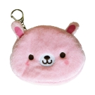 UNIQUE 動物樂園毛絨零錢包。粉紅兔
