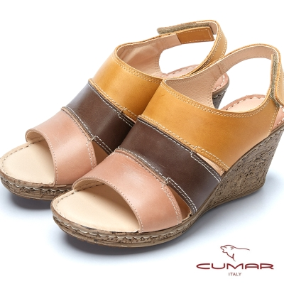 CUMAR舒適氣墊撞色時尚真皮氣墊涼鞋-粉紅色