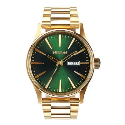 NIXON The SENTRY SS 復刻潮流都會休閒腕錶-綠x金/42mm