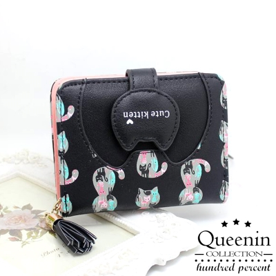 DF-Queenin皮夾-貓物語可愛造型零錢包式短夾-共3色