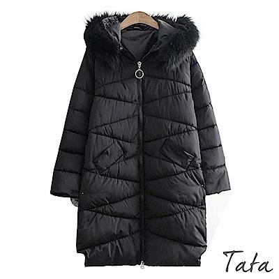 長版側邊毛球鏈鋪棉外套 中大尺碼 共二色 TATA PLUS