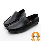 GEORGE 喬治-舒適系列 經典素面樂福鞋休閒鞋-黑