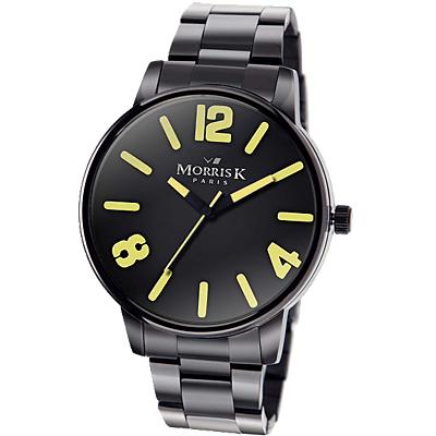 MORRIS K擁你入懷個性玩色時尚潮流錶-黑x黃/35mm