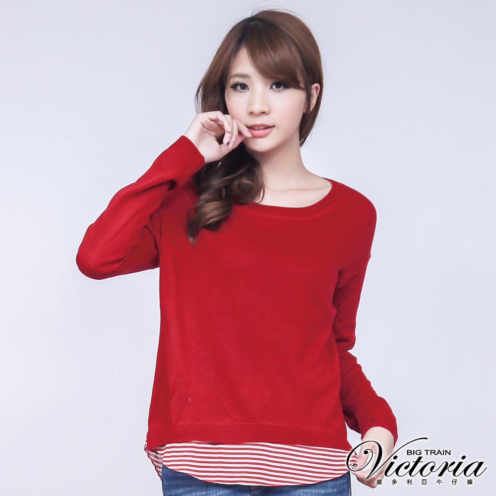 Victoria 條紋雪紡剪接線衫-女-紅色
