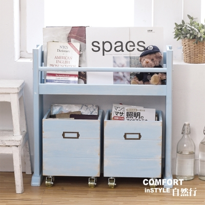 CiS自然行兒童家具 分類收納-展示架-移動式收納箱書架(南歐鄉村藍色)
