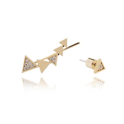 ASTRID&MIYU英國潮流品牌 不對稱三角形耳針 金色
