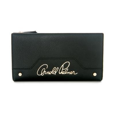 Arnold Palmer- 壓扣式翻蓋長夾 Rock style撞色搖滾系列-黑色