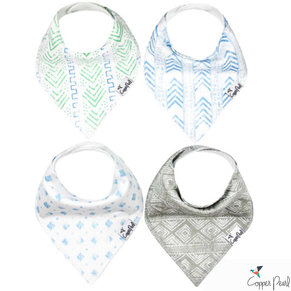 Copper Pearl 美國 藍綠圖騰雙面領巾圍兜口水巾4件組