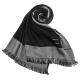ARMANI COLLEZIONI 素面撞色混桑蠶絲披肩圍巾-黑色 product thumbnail 1