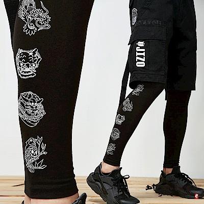 地藏小王 BLUE WAY 運動系列-刺青線條印花貼腿內搭褲