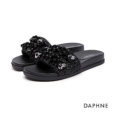達芙妮DAPHNE 拖鞋-立體花朵絨面拖鞋-黑