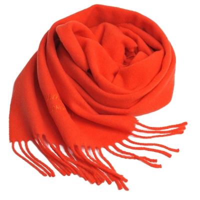 Aquascutum 高質感100%羊毛經典品牌字母LOGO刺繡圍巾(橘)