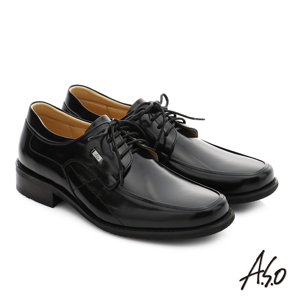 A.S.O 勁步雙核心 真皮鏡面綁帶奈米紳士鞋 黑色