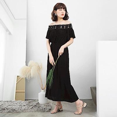蕾絲雕花一字領荷葉袖縮腰連身洋裝-OB大尺碼