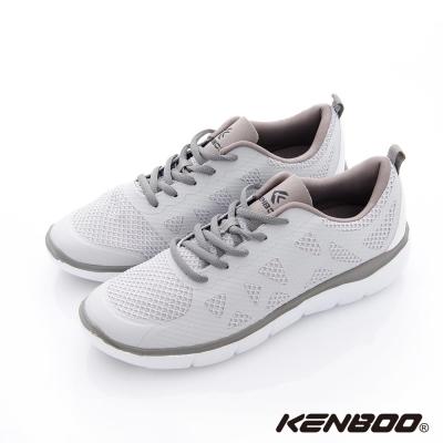 KENBOO(男)-虛實之間 輕量透氣加高運動鞋-灰白