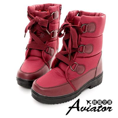 Aviator*韓國空運-尼龍防潑水內鋪毛綁帶馬汀雪靴(含冰爪)-紅