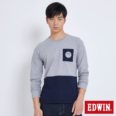 EDWIN 拼色包浩斯長袖T恤-男-麻灰