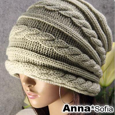 AnnaSofia-韓層辮編-毛線針織帽-米杏系