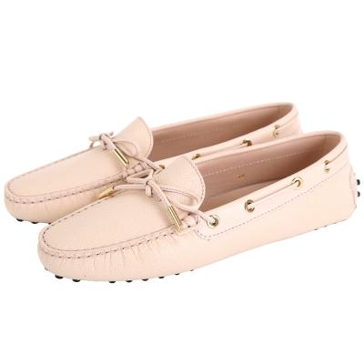 TOD'S Gommino 壓紋牛皮綁帶豆豆休閒鞋(女鞋/米白色)