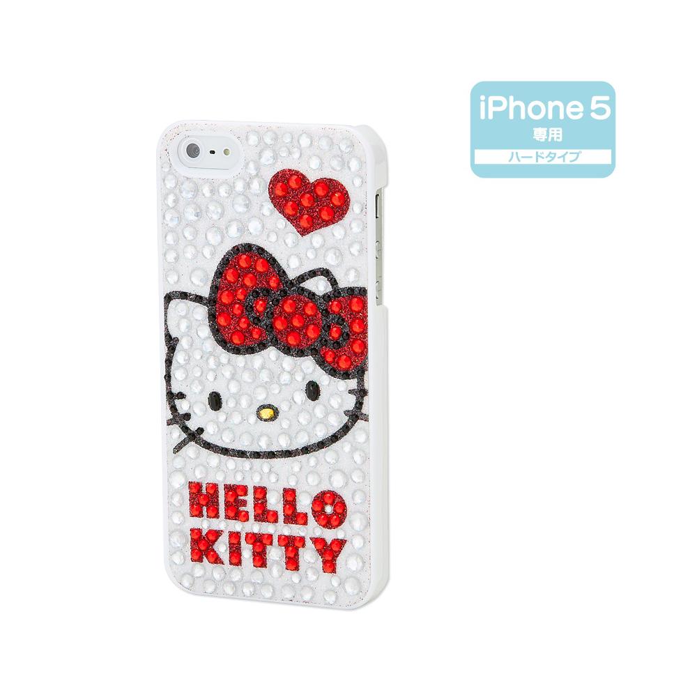 Sanrio HELLO KITTY亮粉水鑽iPhone5 5S保護殼