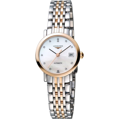 LONGINES Elegant Collection 真鑽機械女錶-珍珠貝x玫瑰金框/25mm L43095877