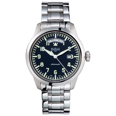 DAVOSA Simplex Day-Date 機械腕錶-黑/44mm