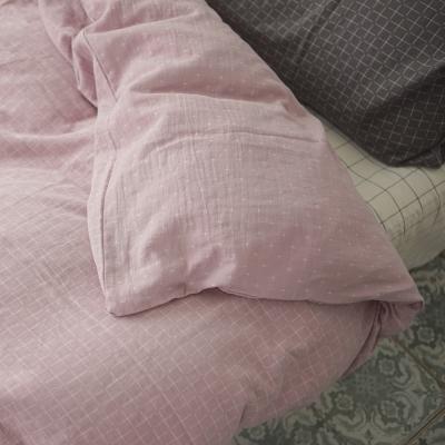 台灣製 被套-雙人 雙層紗-十字淺紫 新疆棉寢織品 自然無印 自由混搭 翔仔居家